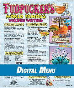Fudpuckers Digital Drink Menu to show the amazing cocktails we offer in Destin and Okaloosa Island Florida vacations!