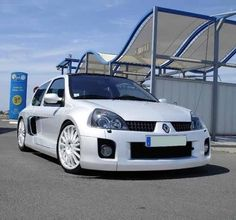 White Clio V6, great looking cars and perform great too being rear wheel drive.