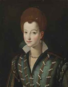 Circle of Santi di Tito (Sansepolcro 1536-1602 Florence)  Portrait of a lady, traditionally identified as Countess Narli, half-length, in a green pearl-encrusted dress