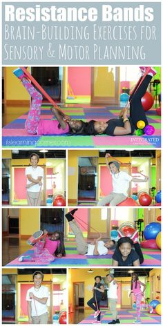 Resistance Bands: Brain-Building Stretchy Band Exercises for Sensory Integration, Motor Planning and Crossing the Midline - Integrated Learning Strategies Sensory Motor, Sensory Diet, Gross Motor Activities, Gross Motor Skills, Sensory Activities, Therapy Activities, Sensory Tubs, Sensory Rooms, Physical Activities