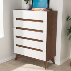 Mid-Century White and Walnut 5-Drawer Chest by Baxton Studio