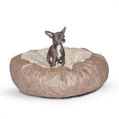 """K&H Pet Products Self Warming Cuddle Ball Pet Bed Small Tan 28"""""""" x 28"""""""" x 10"""""""""""