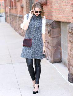 Sleeveless knit tunic + faux leather pants