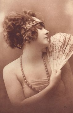"New to redpoulaine on Etsy: Flapper with Fan. A. Noyer ""Aurographie"" French Postcard Dated 1921 (22.00 USD)"