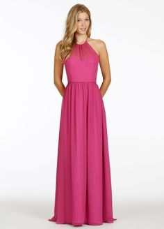 Raspberry chiffon A-line bridesmaid gown, racer neckline, natural waist with gathered skirt.