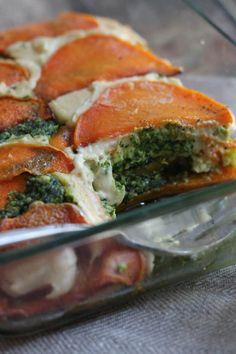 Vegan Butternut Squash Lasagna With Cashew Cheese + Kale Pesto.