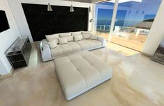XXL Big Sectional Sofa Bed MIAMI with LED Lights RGB - colour selection - Sofas, Loveseats & Chaises