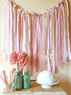 Fabric Garland Rag Streamer Backdrop with Burlap and Lace by AnnKayDesign