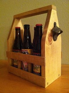 Beer Tote, Handmade Beer Carrier, Custom Wooden Craft Beer Tote 6 Pack, Pine Stain, Rustic Primitive on Etsy, $34.00