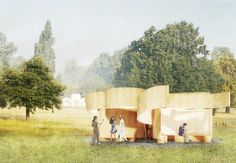 Serpentine Summer Houses include looping wooden pavilion and inverted replica building Museum Of Modern Art, Art Museum, Wooden Pavilion, Modern Lodge, Pavilion Design, Architect Magazine, Popular Art, House Design, Summer Houses