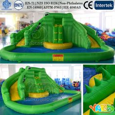 Cheap Inflatable Bounce House Water Slide With Pool For Summer Family Fun w/Blower
