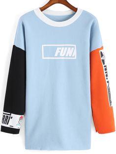 Colour-block Round Neck FUN Print Sweatshirt