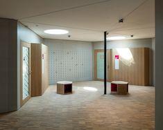 School for Curative Pedagogy HPT Biel #bauzeitarchitekten #school #renovation #interior #refurbishment #woodfacade #swiss #architecture Swiss Architecture, Divider, Bathtub, Bathroom, School, Furniture, Home Decor, Standing Bath, Washroom