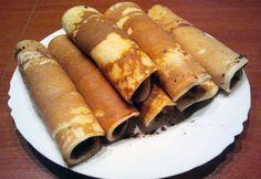 Bögrés palacsinta   NOSALTY Nutella, Hot Dogs, Sweet Potato, Sausage, Pancakes, Meat, Vegetables, Ethnic Recipes, Food