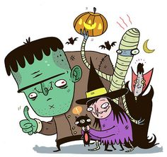 funny halloween characters by The Gross Uncle. poor kitty!