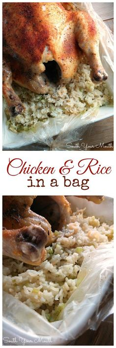 Chicken & Rice in a Bag! Chicken cooks up moist and tender like a rotisserie chicken surrounded by mounds of flavorful rice!