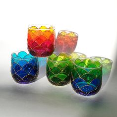 Hand Painted Small Stemless Wine Glasses Fish scales by ArtMasha