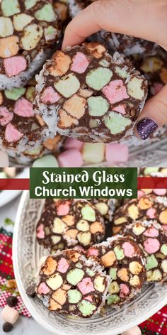 Church window cookies are a classic no bake Christmas cookie made with mini marshmallows, chocolate, walnuts and shredded coconut! These no bake stained glass window cookies are a family favorite! Christmas Sweets, Christmas Cooking, Holiday Desserts, Holiday Baking, Christmas Parties, Christmas Time, Easy Christmas Baking Recipes, No Bake Christmas Cookies, Christmas Baking Gifts