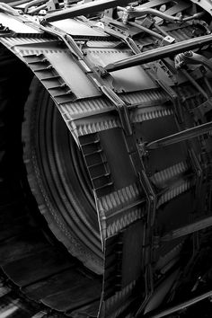 F-15 Strike Eagle airplane engine nozzle. Black and white aviation photography.