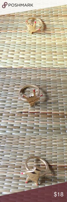 🆕 ROCK ON RED NAILS RING 🆕 ROCK ON, gold red nails ring. Concert time! Get your rock on, ring on. Imported, gold plated alloy metal/nickel/lead free. Avoid chemical contact/water, use clean, soft cloth for cleaning. Reasonable offers/bundles welcome, no trades. My environment is clean/organized/pet/smoke free. Please make any inquires, all sales are final on PM. Thank you for shopping my boutique. Jewelry Rings