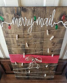 Christmas card holder- christmas decor- Merry Mail- Christmas wood sign- painted- rustic decor-Christmas - Crafts All Over Christmas Signs Wood, Noel Christmas, Winter Christmas, Christmas Design, Christmas Ornaments, Merry Christmas Sign, Minimal Christmas, Christmas Lights, Cricut Christmas Cards