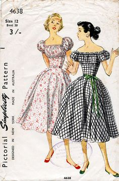1950s Peasant Dress Pattern Simplicity 4638 by BessieAndMaive