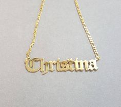 Large Statement 2 cms tall Old English Hip Hop or Gothic Style Name Necklace Gold Plated, up to 10 letters Gold Name Necklace, Dainty Diamond Necklace, Modern Jewelry, Fine Jewelry, Gold Jewelry, Jewlery, Jewelry Box, Luxury Jewelry, Jewelry Accessories