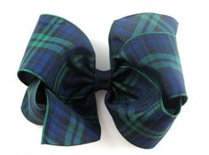 Plaid Hair Bow 4  Navy Blue Hunter Green Tartan by PoppyBows