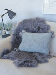 Mohair Cushion with PomPoms