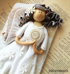 anioły i figurki-KOMUNIJNA no.2 - anioł na deseczce!
