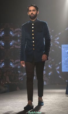 Shantanu and nikhil – men's wear – prussia blue bandhgala jacket with gold buttons – bmw india bridal fashion week 2015 Wedding Dresses Men Indian, Indian Wedding Wear, Wedding Suits, Wedding Bride, Fashion Week 2015, Bridal Fashion Week, Wedding Sherwani, Sherwani Groom, Indian Men Fashion