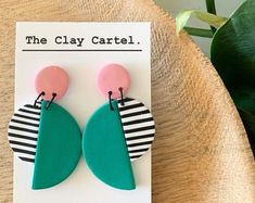 grey and light blue handmade polymer clay earrings MULTIPLE DESIGNS patterned three quarter circle green
