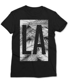 Mighty Fine Men's La with Palms Graphic-Print T-Shirt - Black S