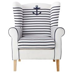 Simply perfect for any beach house or cottage - or home that wishes to channel such a vibe! #anchor #chair #nautical #preppy #beach #house