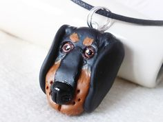 Dachshund Handcrafted Necklace, Polymer Clay, Sculpted Jewellery, Cord Necklace £18.00