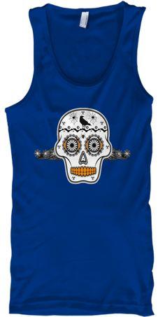 Halloween Sugar Skull Crow Spiders Tank  True Royal T-Shirt Front