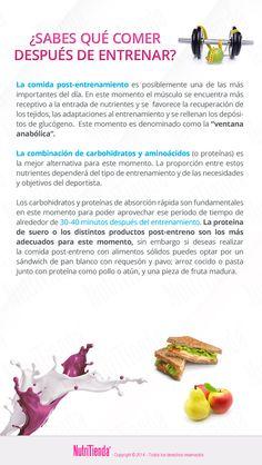 ¿Sabes qué comer después de entrenar?  Si quieres recuperarte correctamente después de hacer deporte, debes tener claro cómo y cuál debe ser tu comida post entreno.  #FitnessNutriTienda #TipsNutriTienda #PostEntrenamiento  www.NutriTienda.com