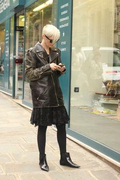#katelanphear #biker #skirt #boots #cool #vintage  #mode #moda #women #paris #look #streetstyle #streetview #street #style #offcatwalk on #sophiemhabille