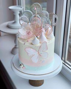 Elegant Birthday Cakes, Pretty Birthday Cakes, Baby Birthday Cakes, Pretty Cakes, Cute Cakes, Butterfly Birthday Cakes, Birthday Cake With Flowers, Butterfly Cakes, Beautiful Cake Designs