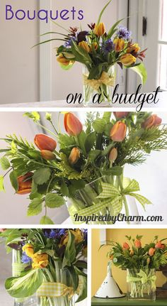 Great tips for creating professional looking flower arrangements with a pack of $ 5 flowers from the grocery store.