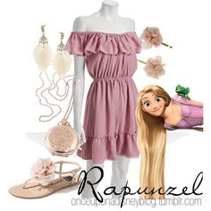 Rapunzel, created by disneyoutfits. Love the dress!!