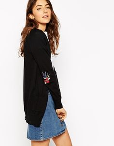 ASOS Cardigan With Love/Hate Elbow Patch