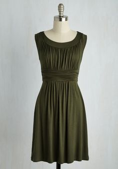 I Love Your Dress in Olive - Green, Solid, Pleats, Casual, A-line, Sleeveless, Jersey, Ruching, Scoop, Best Seller, Full-Size Run, Good, 4th of July Sale, Maternity, Knit, Mid-length, Top Rated