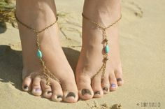 Barefoot Sandals Footless Sandals Anklet Toe Ring Foot Jewelry Yoga Boho Bohemian Gypsy Sandara Turquoise Blue on Etsy, $17.00