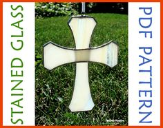 Easy Stained Glass Pattern 2 Piece Christmas Cross Suncatcher PDF