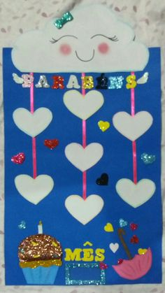 Aniversariantes do mês tema nuvem chuva de amor #prof.Lili Charts For Kids, Classroom Door, Wooden Hearts, Teacher Appreciation, Diy And Crafts, Lily, Kids Rugs, Education, Games