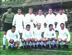 1963. De pie, de izquierda a derecha: Vicente, Isidro, Santamaría, Casado, Muller y Pachín. Agachados, en el mism orden: Amancio, Félix Ruiz, DiStéfano, Puskas y Gento