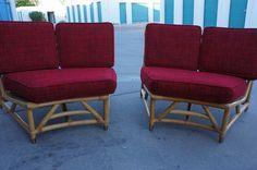 RARE 50s Mid Century Modern Tiki Rattan Bamboo Set of Rounded Corner Love Seats / Atomic Tiki Furniture / MCM Couches / Vintage Tiki Set by HippieGypsyBoutique on Etsy https://www.etsy.com/listing/238244392/rare-50s-mid-century-modern-tiki-rattan