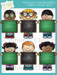 The Kids with Chalkboards Set 2 clip art set contains 20 image files, which includes 10 color images and 10 black & white images in png and jpg. This set includes 5 girls and 5 boys holding chalkboards in front. All images are 300dpi for better scaling and printing.