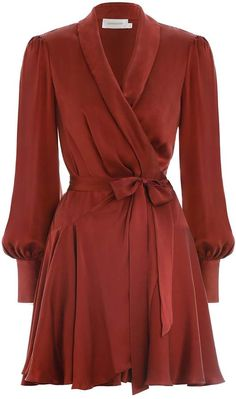 Wrap Mini Dress, from our Resort 2019 Ready To Wear Collection, in Cedar silk. Mini robe dress with wrap front closure, blouson sleeves and gold button down deep sleeve cuffs. Style the dress with the Scar Dresses For Teens, Simple Dresses, Elegant Dresses, Sexy Dresses, Casual Dresses, Short Dresses, Fashion Dresses, Dresses For Work, Summer Dresses